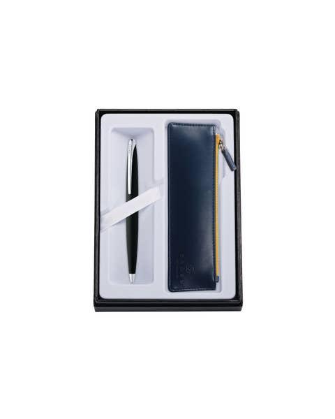 ATX bolígrafo negro basalto con bolsa azul medianoche