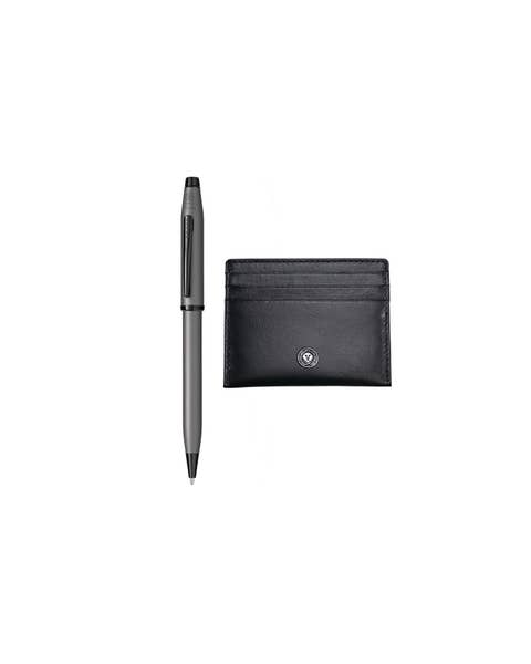Century II Gunmetal Ballpoint Pen with Black Card Case