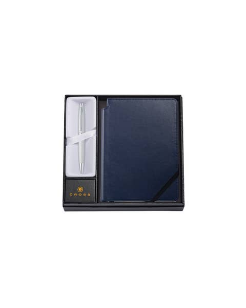 Calais Satin Chrome Ballpoint Pen with Medium Midnight Blue Journal