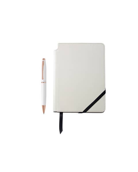 Calais Pearlescent White Lacquer Ballpoint and White Journal Gift Set