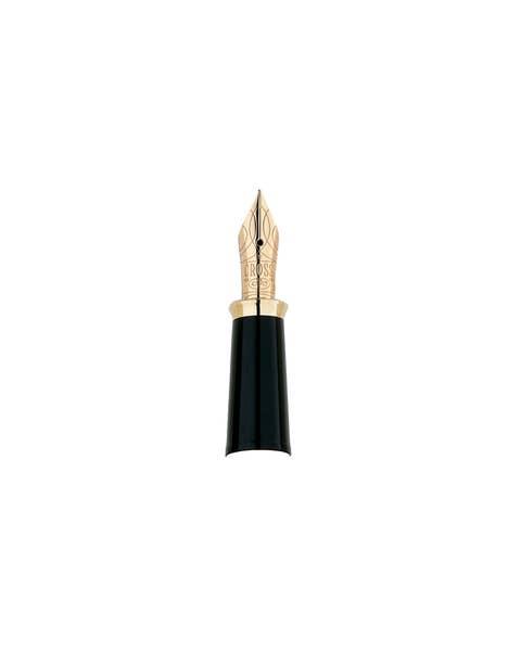 Sección delantera de la pluma estilográfica con plumín fino de oro macizo de 18 quilates y anillo con plumín dorado de 23 quilates