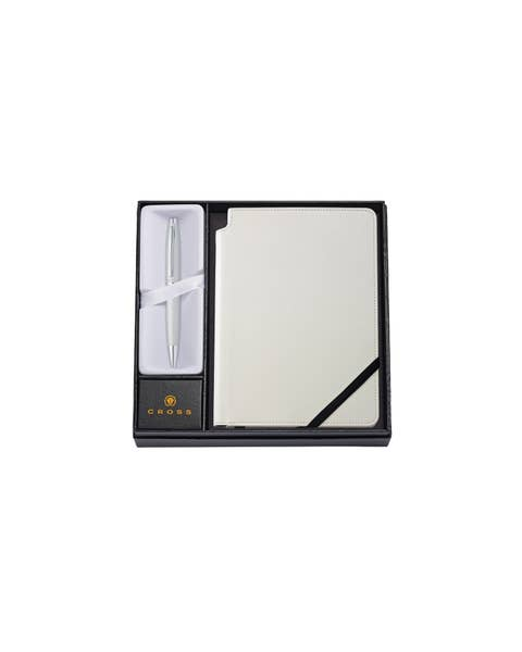 Calais Satin Chrome Ballpoint Pen with Medium Classic White Journal