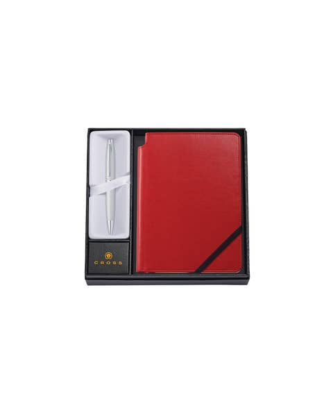 Calais Satin Chrome Ballpoint Pen with Medium Crimson Journal